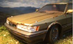 Rusting Nissan Leopard scale model