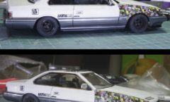 Sticker bombed Nissan leopard scale model